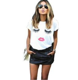 $enCountryForm.capitalKeyWord NZ - eyelash red lips tshirts print letters female T-shirt plus size summer tee shirt femme harajuku shirt women tops