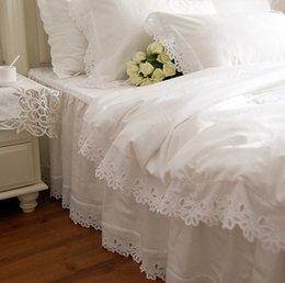 pink lace princess queen bedding NZ - Fancy wed white lace edge bedding,girl twin full queen king princess fairyfair bedclothes bed skirt pillow case comforter set