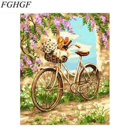 Modern Diy Decor NZ - FGHGF Frameless Romantic Bike DIY Painting By Numbers Kits Acrylic Modern Wall Art Canvas Painting For Home Decors 40x50cm
