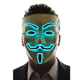 V Vendetta Cosplay UK - New Light Up LED Mask V for Vendetta Anonymous Guy Fawkes Costume Cosplay Cool Free Shipping