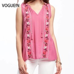 0df2c323 VOGUEIN New Womens Pink White Floral Embroidered Tassels Sleeveless Blouse  Tops Shirt Size SML Wholesale