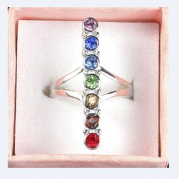 $enCountryForm.capitalKeyWord Australia - 7 Chakra Point Healing Gem Stone Crystal Cross Balancing Meditation Finger Ring Energy Finger Rings Jewelry
