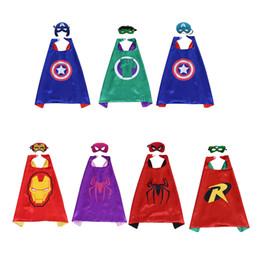 Venta al por mayor de SuperHero Mask Cape IronMan Kid Birthday Day Gift 7pc Máscara 7pc Cape Cosplay Suministros para fiestas