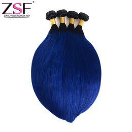 $enCountryForm.capitalKeyWord UK - ZSF 100% Unprocsssed Ombre Bundles Brazilian Virgin Hair 4 Bundles Two Tone Color 1B Blue Ombre Braiding Hair Extensions Brazilian Straight