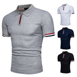 Top Tee T-shirts Nouveau mode Polos shirt Zipper design Tops shirt Patchwork Stirped shirts pour homme manches courtes Marques Chemises populaires