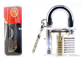 Locksmith Padlock Pick Tools Australia - Fold Pick Locksmith Tools Lock Picking Tools + 7 Pin Visible Cutaway Transparent Practice Lock Padlock