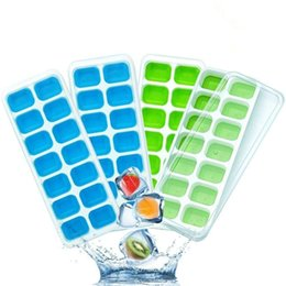 Wholesale 4pcs Silicone Ice Cube Trays with Lid DIY Ice Cube Candy Baking Mold Whiskey Drink Ice Cream Maker Tray for Kitchen Bar Party