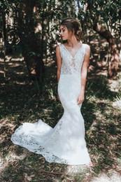 Wedding Dress Sleeveless Lace Top NZ - Sexy See Through Top Backless 2019 Country Mermaid Wedding Dresses Appliques Lace V-Neck Sleeveless Long Wedding Dress Vestido De Novia