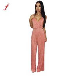 0b83abe2c04 Women Jumpsuit 2018 Summer Fashion Sexy Sleeveless Deep V-Neck Jumpsuit  Evening Party Playsuit Bodycon Slim Playsuit Feminino
