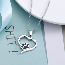 $enCountryForm.capitalKeyWord Australia - Heart Necklace Cute Animal Dog Love Heart Hollow Pet Paw Footprint Necklaces For Women Girls Jewelry