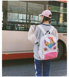 Cute Cooler bags online shopping - high quality cool Unicorn Children Backpacks Canvas Cartoon Girls School Bags Schoolbags Printing cute Small animal Backpacks