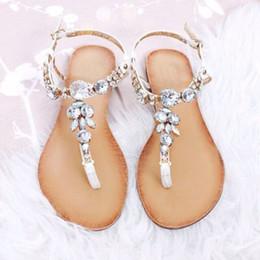 3efe66958ed1 2018 Women Bohemian Ethnic Crystal Rhinestone Flat Sandals Roman Gladiator  Flip Flops Petal Flower Shoes Girl Wedding Casual