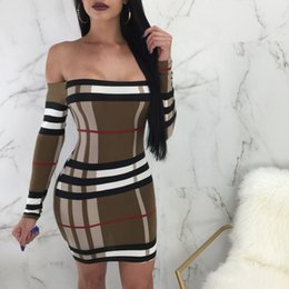 Discount long sleeve tube tops - Woman Skirt For Sale New Pattern Europe Station One Word Casual Dresses Lead Long Sleeve Tube Top Printing Dress