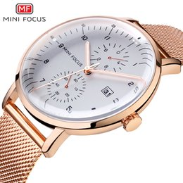 Wholesale MINI FOCUS Top Brand Luxury Men Quartz Watch Stainless Steel Bussiness Mens Watches Rose Gold Waterproof Fashion Male Clock