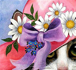 Red oil canvas online shopping - Gift And Crafts Full Diamond Painting D DIY Red Hat Little Cat Cartoon Style Embroidery Paintings Kits Home Decor ly4 jj