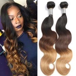 $enCountryForm.capitalKeyWord NZ - Ombre Color Hair Waves #1b 4 27 Body Wave 3 Tone Color Malaysian Virgin Human Hair Weft 3PCS Free Shipping