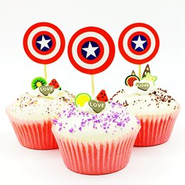 superheroes party decorations NZ - 720pcs lot Superhero Captain Shield Cupcake Toppers baby shower Boy Kids Birthday Party Decoration Cartoon Cake Flag Supplies