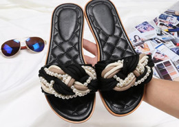 Shape Flat Canada - Summer Ladies Diamond-shaped pearl Beach Flat Slippers Fashion 2018 Casual Loafers Lazy Person Gladiator Sandals Shoes Flats Slippers Mujers
