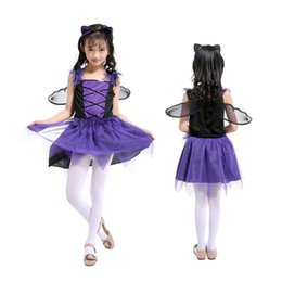 Chinese  Purple Bat Fairy Long Dress with Ear Headband and Black Wing Girls Performance Dresses Xmas Dress Children's Day Cosplay Clothing manufacturers