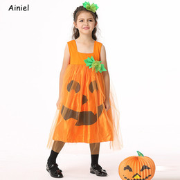 Pumpkin Suit Costumes Australia - Summer Girls Pumpkin Dress Tulle Skirt Children's Dress Long Yarn Mesh Skirt Halloween Costume Suit Clothes Halloween Girls Kids