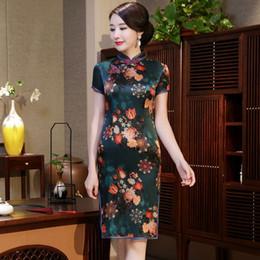 3c8339a05 2019 summer high grade vintage elegant plus size short sleeve real silk  green printed flowers short cheongsam daliy Chinese dress qipao