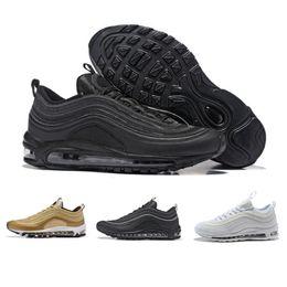 the latest 09cbe 985e7 Nike Air max 97 OG Tripel Blanc Métallique Or Argent Bullet 97 Meilleur  qualité BLANC 3 M Premium Chaussures de Course avec Boîte Hommes Femmes  Livraison ...