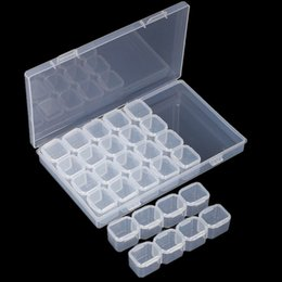 Empty nail boxEs online shopping - Nail Art Storage Box Empty Grids Compartment Plastic Clear Storage Container Jewelry Mini Diamond Organizer Boxes High Quality px X Z