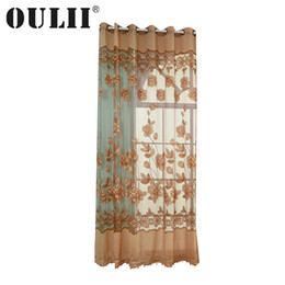 Discount screen live - OULII 100x250cm Semi-transparent Tulle Window Sheer Window Screen Voile Curtains with Flowers Pattern for Bedroom Living