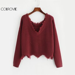 f61b8bddb COLROVIE Cut Edge Knit Sweater Women Drop Shoulder Long Sleeve Casual  Pullovers Fall Fashion Burgundy Sexy Ugly Sweater C18110601