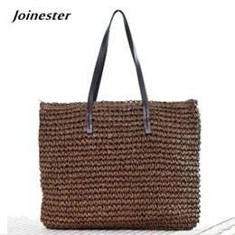 sea bags tote Canada - Ladies' Summer Beach Sea Straw Woven Casual Bag Tote Bohemia Hand Knitted Crochet Carry-All Shoulder Bag Handbag Shopper Tote