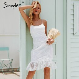 $enCountryForm.capitalKeyWord NZ - Simplee elegant ruffles hem lace mesh sundress Backless lace up sexy bodycon mini dress Women party club wear dress vestidos