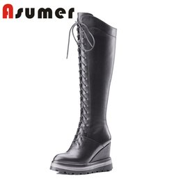 498bf9e59de3 ASUMER HOT SALE 2018 sexy pointed toe wedges heels women boots corss tide knee  high boots high quality genuine leather