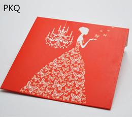 20pcs / lot 12.8 * 12.8 cm rouge mariée conception Kraft papier enveloppe sac CD DVD sac d'emballage carte de mariage titulaire de CD pour la fête de l'événement