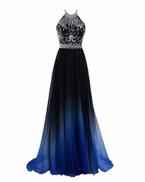 Wholesale 2018 Newest Hot Sale Sexy Halter Gradient Prom Dresses With Long Chiffon Plus Size Ombre Evening Party Gowns Formal Party Gown