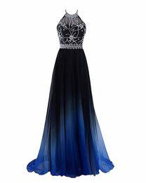 2018 Neueste Heiße Verkauf Sexy Halter Gradient Prom Kleider Mit Langen Chiffon Plus Size Ombre Abendgesellschaft Kleider Formale Party Kleid