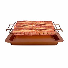 fry pans set Australia - Cooking Tools Copper Non Stick Bacon Rack and Oven Healthier Bacon Drip Rack Tray with Pan 2 Pcs Set Easily Cook Up To 12 Strips