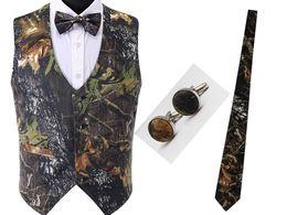 2018 barato Noivo Wear escuro Caça groom Coletes 4 peça set Camo Tuxedo Vest colo Camo Coletes de Casamento dos homens escuros Coletes de Caça venda por atacado