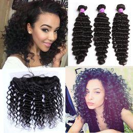 bundle weave silk top closure 2019 - 8A Deep Wave Human Hair Bundles With Silk Base Lace Frontal Closure Ear To Ear Silk Top Lace Frontals With Virgin Hair W