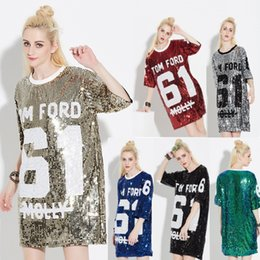 $enCountryForm.capitalKeyWord NZ - Woman Club Dresses 2018 Sequin T Shirt Dress Plus Size Loose Tee Shirts Glitter Tops Christmas Dress Women Fashion Free Shipping