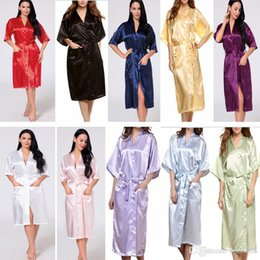 Chinese  13 Colors Women Solid Long Pajamas Summer Silk Silk Kimono Robe for Bridesmaids Wedding Party Night Gown Home Clothing HH7-1109 manufacturers