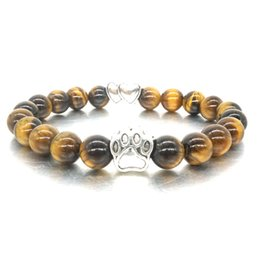 $enCountryForm.capitalKeyWord NZ - MKI 8mm Tiger's Eye Stone Beads Bracelet Vintage Silver Cat Dog Paw Hearts Bracelet Pet Lover Stretch Yoga Jewelry
