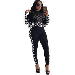 China Autumn Women's Tracksuits Women Clothing Set Loose SUPER Letter Top T-Shirt+ Sports Pants Girls Casual Pullover Plaid Gauze Lace Sexy Suit supplier women lace pant suit suppliers