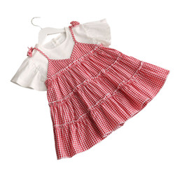 red little girl dresses UK - 2017 New Kids Girls Dress Hot Summer Little Girl Short Sleeve Tiered Dresses Child Girl A Line Dress For Party Patchwork Clothes