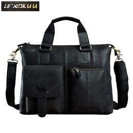 Travel lapTop cases online shopping - Men Original Leather Design Antique Retro Travel Business Briefcase quot Laptop Case Portfolio Bag Shoulder Messenger Bag B260b