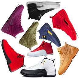 2017 basketball shoes Friday Gym red new mens Basketball shoes 12 12s Michigan navy Bulls Flu Game UNC taxi french blue sneaker trainers Sports US5.5-13