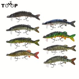 """soft bait pike 2019 - 5"""" 9-Segement Pike Lure with Mouth Swimbait Crankbait Pike Muskie Fishing Lure Fishing Bait Tackle 12.5cm 20g"""