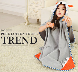 Discount kids embroidered towels - 3Pcs lot Children Bathrobe Baby Kids Grey Monster Cotton Cape Cloak Animal Hooded Towel Boys Girls Beach Swimming Towel