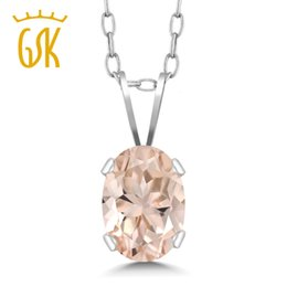 $enCountryForm.capitalKeyWord NZ - GemStoneKing 925 Sterling Silver Gemstone Fine Jewelry 0.65 Ct Oval Natural Peach Morganite Pendant Necklace For Women