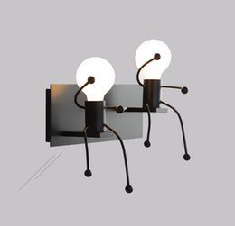 children room wall lamp Australia - Creative personality simple modern living room bedroom bedside lamp small iron corridor aisle lights children room wall lamp