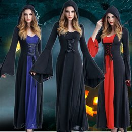 Discount sexy devil woman costume - 2018 Halloween Vampire & Devil Costume For Women Death Cope Sexy Maxi Long Ghost Dress Cosplay Party Dress